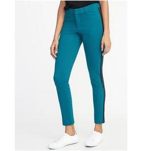 Mid-Rise Ponte-Knit Side-Stripe Pixie Ankle Pants
